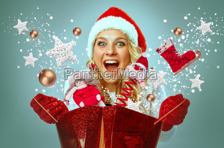 beautiful young woman in santa claus