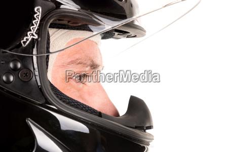 racing driver with helmet