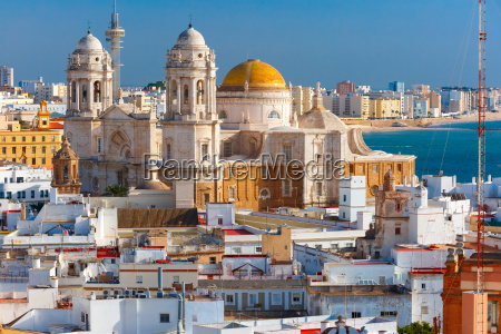 rooftops and cathedral in cadiz andalusia