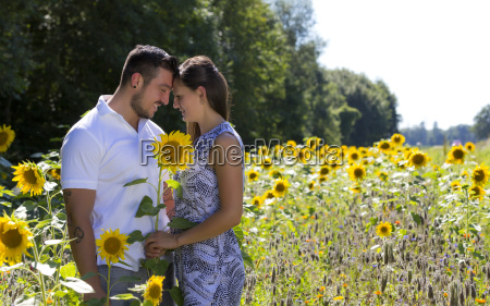 happy young couple in the sunflower