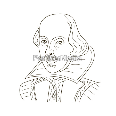 william shakespeare sketch illustration black and