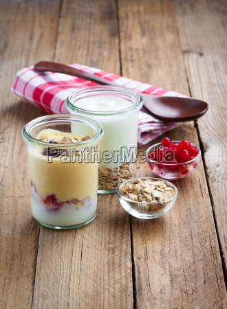 healthy yogurt in a glass container