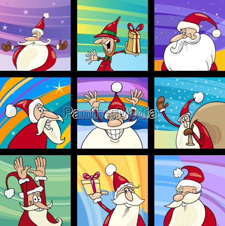 christmas santa cards cartoon set