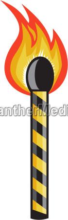 light striped match stick on fire