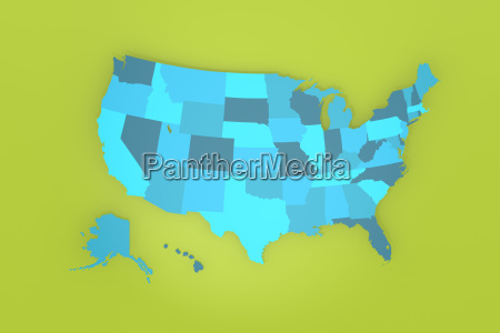 detailed usa map on green background