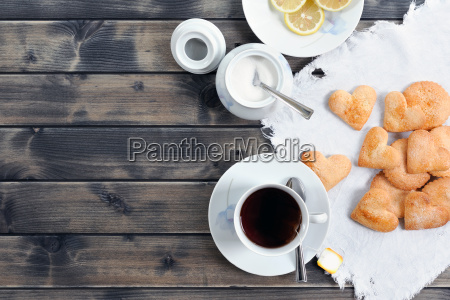 breakfast with tea and biscuits