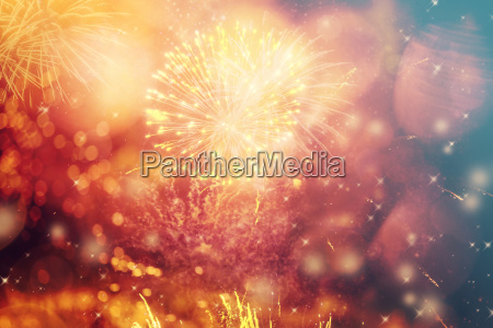 abstract holiday background with fireworks and