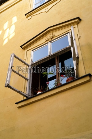 open window in the center of