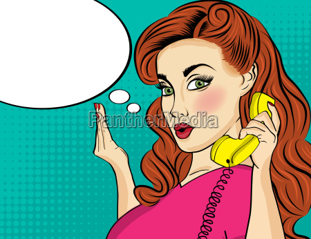 pop art woman chating on