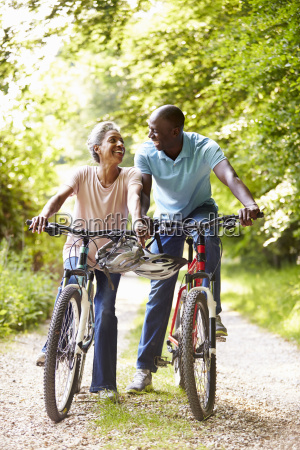 mature african american couple on cycle
