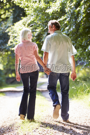 rear view of middle aged couple