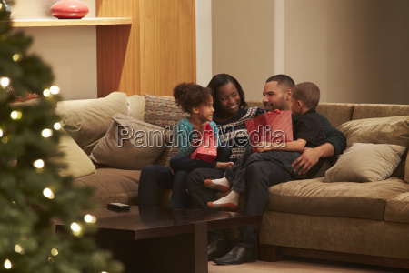 family celebrating christmas at home viewed