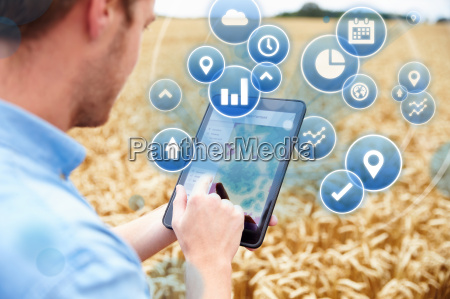 composite of farmer in field accessing