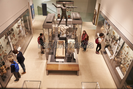 overhead view of busy museum interior