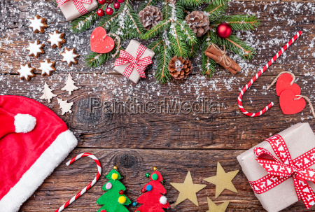 christmas decoration on wooden background with