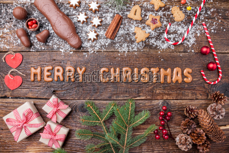 festive christmas background with sweets and