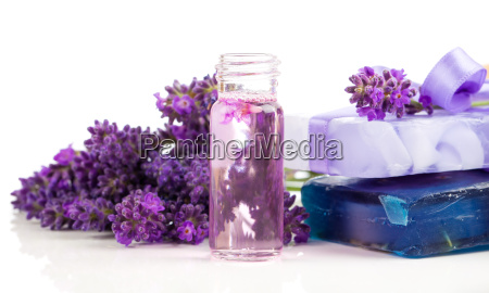 lavender soap and handmade oil with