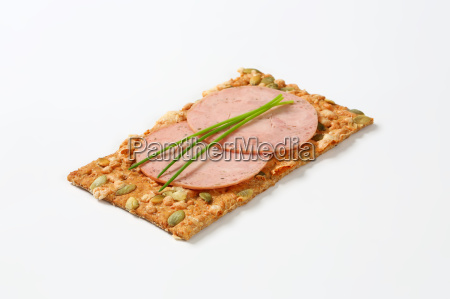 pumpkin seed cracker with soft sausage