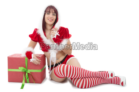 pretty girl dressed as santa