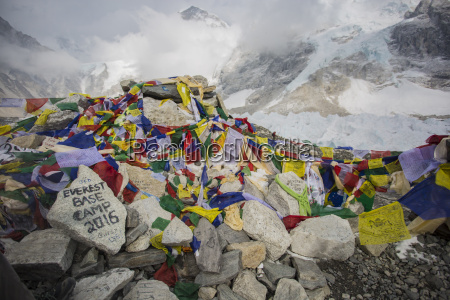 prayer flags adorn the area around