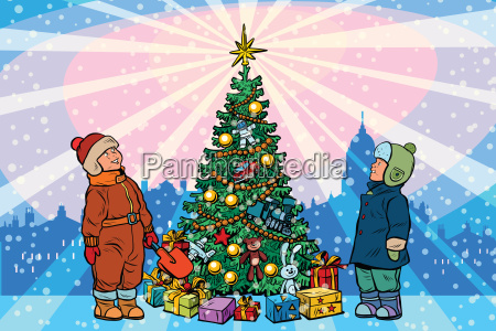 children stand near the christmas tree