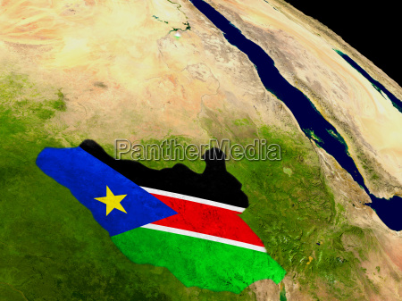 south sudan with flag on earth