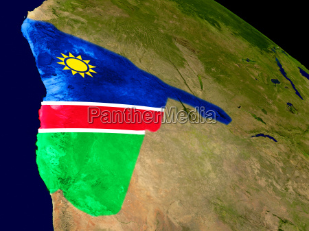 namibia with flag on earth