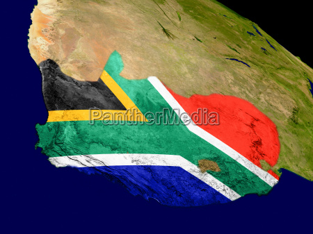 south africa with flag on earth