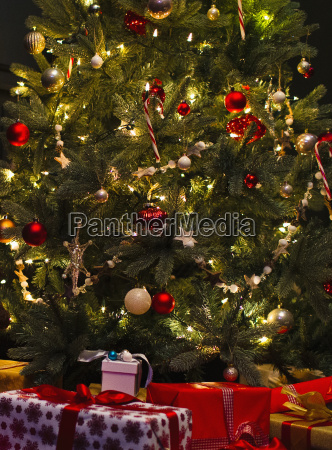 decorated christmas tree with lights