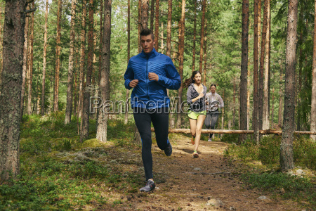 runners running on trail in woods