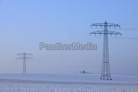 hydro towers in field bauland baden