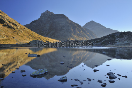 reflection of mountains in lake julier