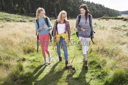 group of teenage girls hiking in