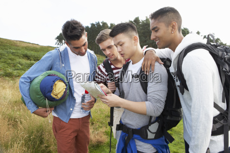 group of young men on camping