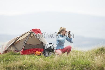 teenage girl on camping trip in