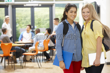 portrait of female teenage students in