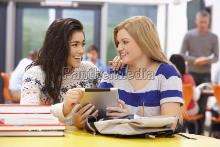female teenage students in classroom with