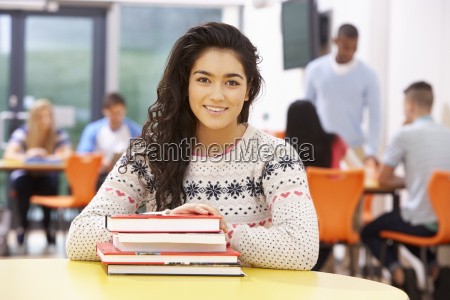 female, teenage, student, in, classroom, with - 19407928
