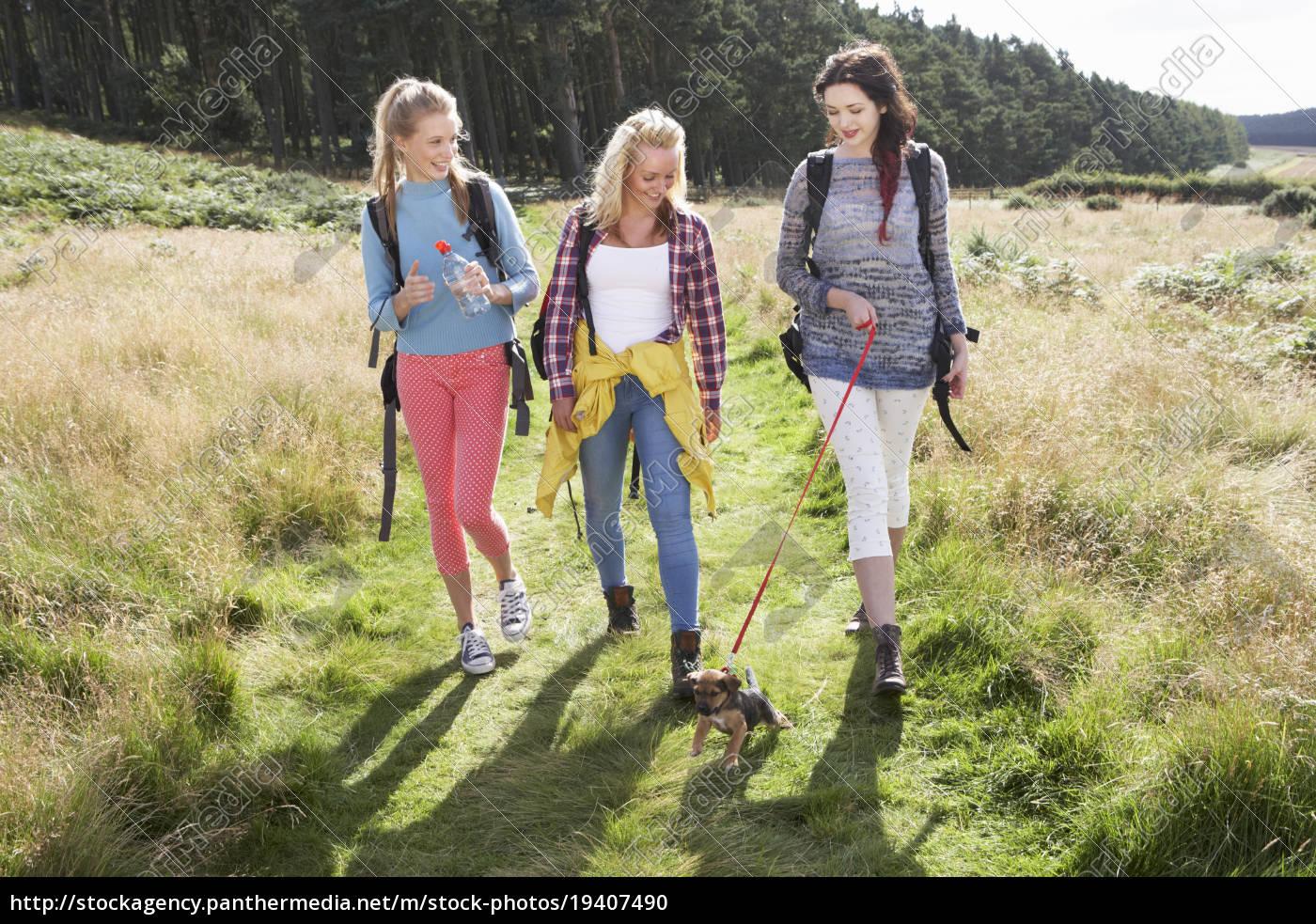 group, of, teenage, girls, hiking, in - 19407490