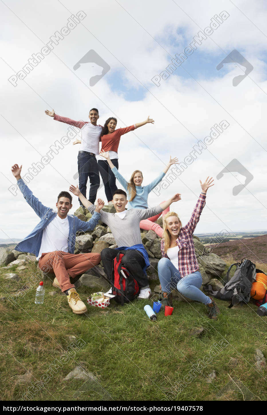 group, of, young, people, hiking, in - 19407578