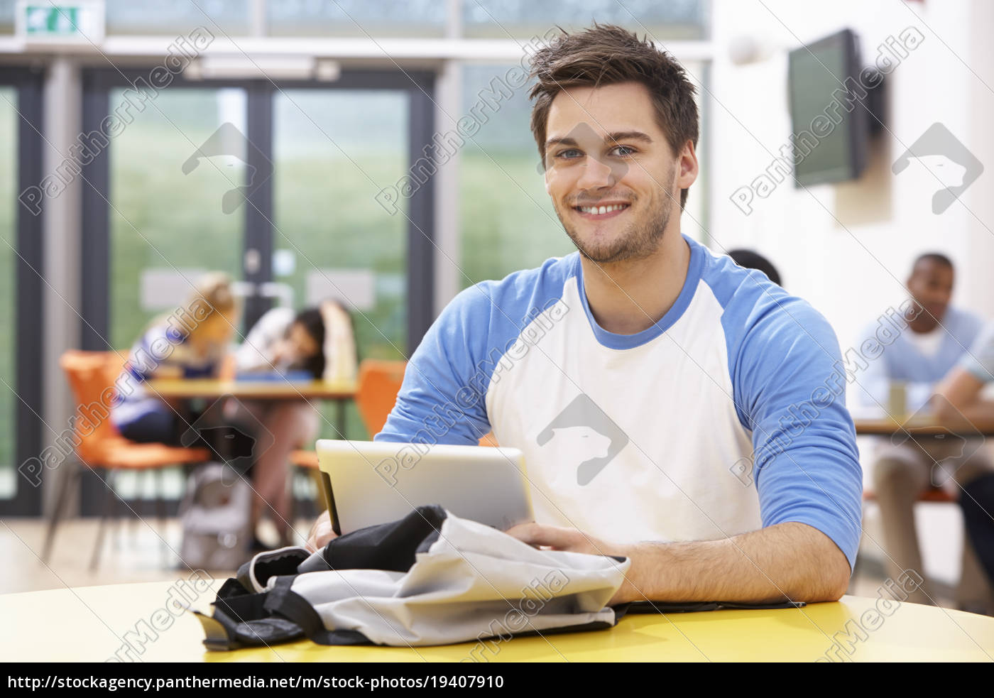 male, student, studying, in, classroom, with - 19407910