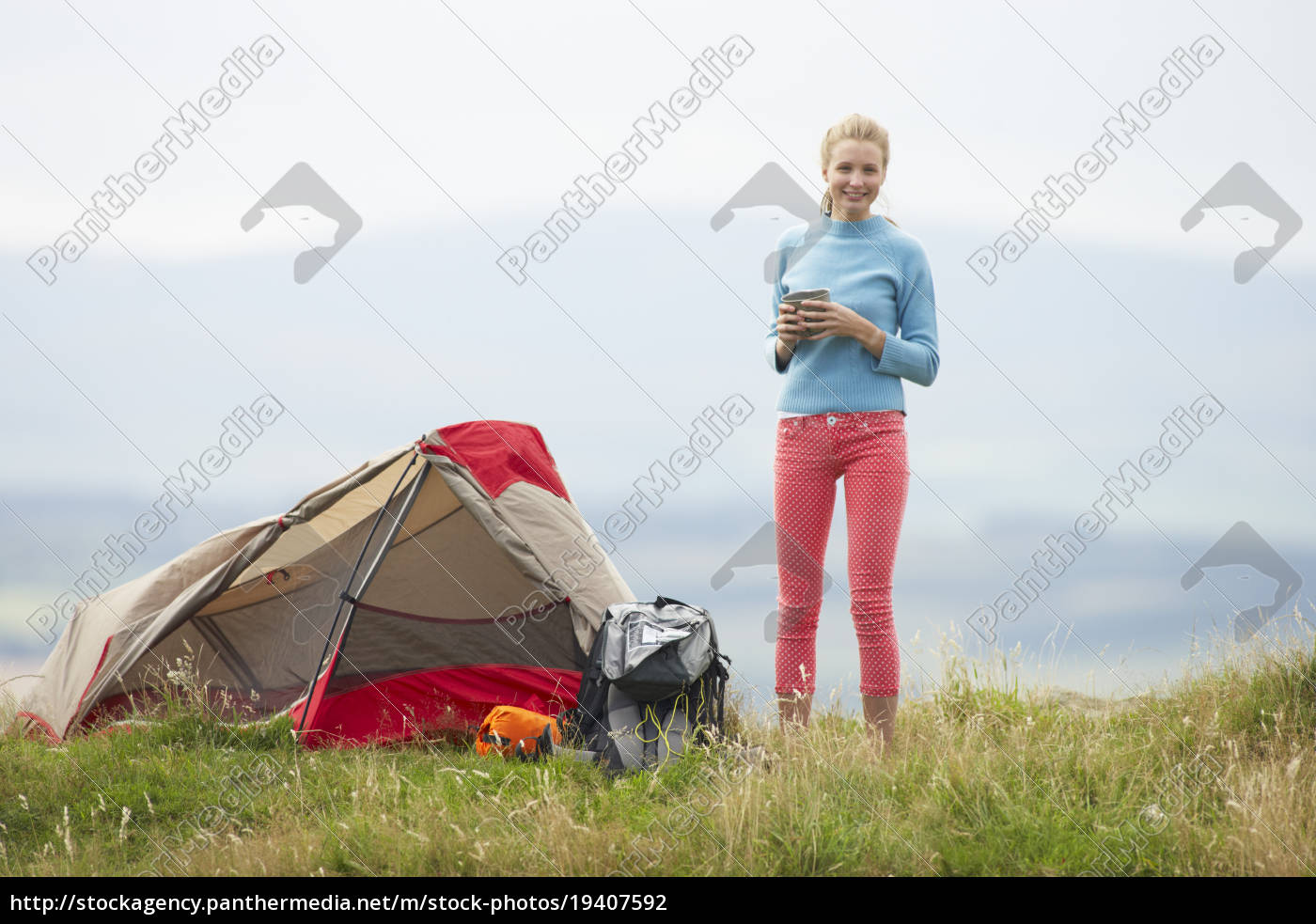 teenage, girl, on, camping, trip, in - 19407592