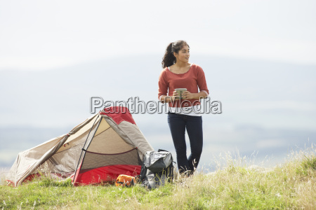 teenage, girl, on, camping, trip, in - 19407642