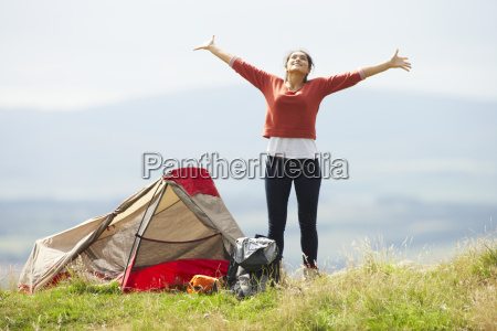 teenage, girl, on, camping, trip, in - 19407658
