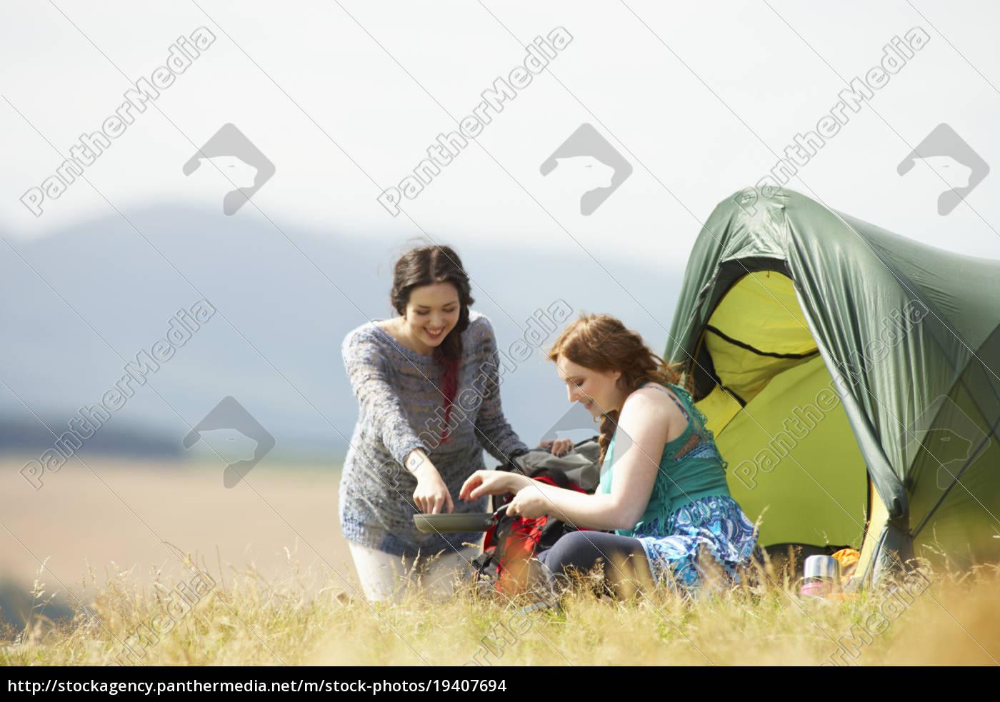 two, teenage, girls, on, camping, trip - 19407694
