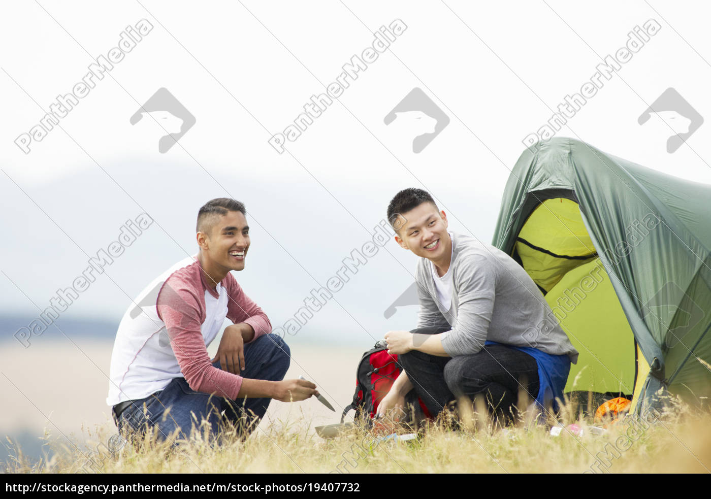 two, young, men, on, camping, trip - 19407732