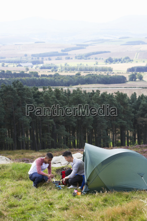 two, young, men, on, camping, trip - 19407816
