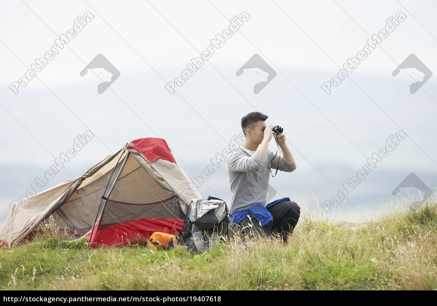 young, man, on, camping, trip, in - 19407618