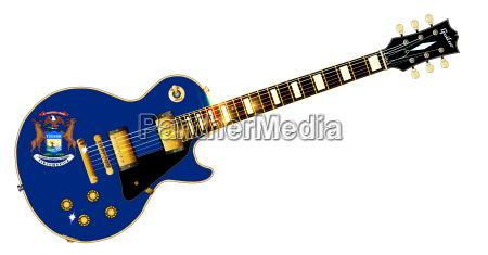 michigan state flag guitar