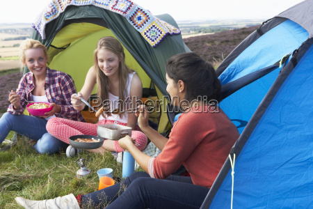 group of teenage girls on camping